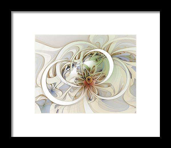 Digital Art Framed Print featuring the digital art Floral Swirls by Amanda Moore