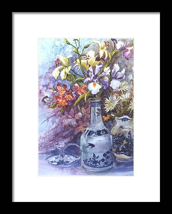 Floral;delft;blue;mauves;still Life;iris Framed Print featuring the painting Floral With Delft Ware by Lois Mountz