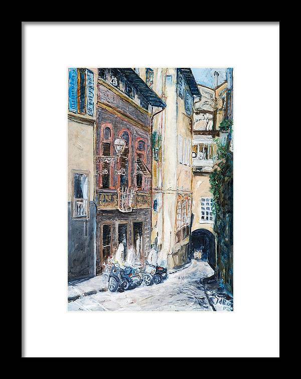 Cityscape Italy Florence Scooters Allyway Framed Print featuring the painting Florence Archway by Joan De Bot