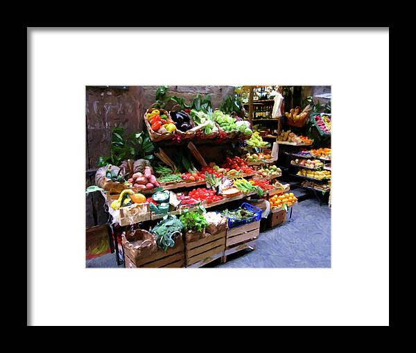Italy Framed Print featuring the digital art Florence Produce Stand by Steve Brown