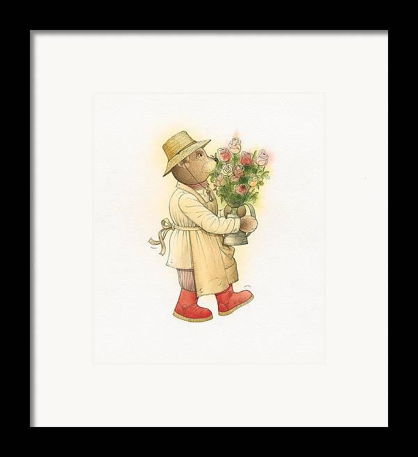 Love Garden Flowers Roses Bears Framed Print featuring the painting Florentius The Gardener01 by Kestutis Kasparavicius