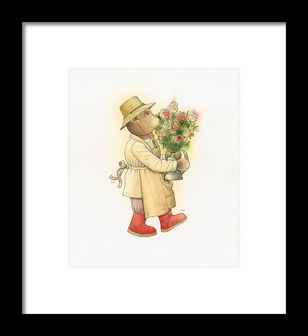 Love Garden Flowers Roses Bears Framed Print featuring the painting Florentius The Gardener01 by Kestutis Kasparavicius