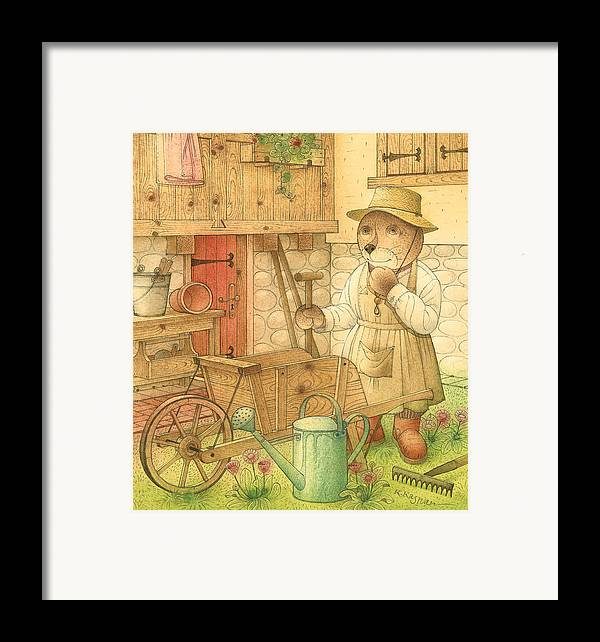 Bear Garden Flowers Framed Print featuring the painting Florentius The Gardener02 by Kestutis Kasparavicius