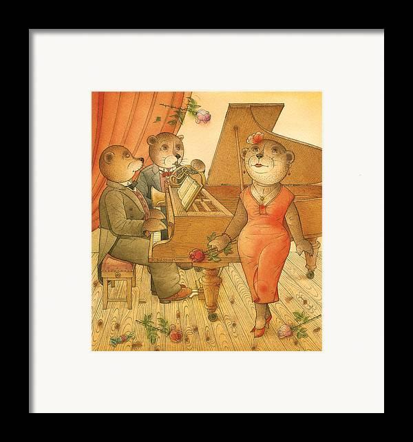 Music Bears Love Flowers Flirt Song Framed Print featuring the painting Florentius The Gardener03 by Kestutis Kasparavicius