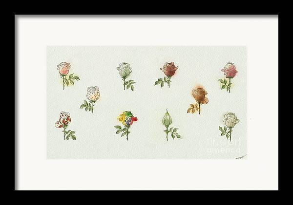 Flowers Roses Garden Love Framed Print featuring the painting Florentius The Gardener05 by Kestutis Kasparavicius