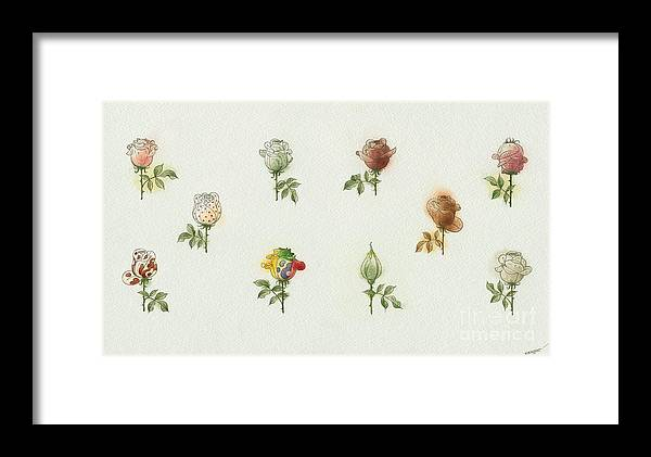 Flowers Roses Garden Love Framed Print featuring the painting Florentius The Gardener05 by Kestutis Kasparavicius