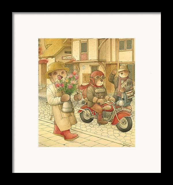 Love Bears Bike Town Flowers Roses Framed Print featuring the painting Florentius The Gardener06 by Kestutis Kasparavicius