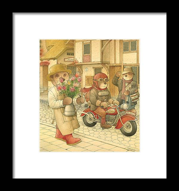 Love Bears Bike Town Flowers Roses Framed Print featuring the painting Florentius The Gardener06 by Kestutis Kasparavicius