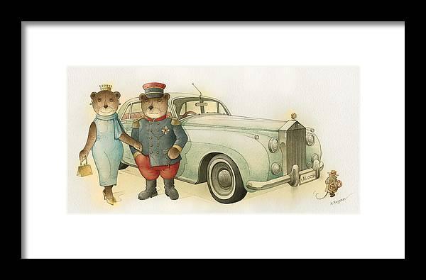 Bears Love Queen Limousine Rolls-royce Flirt Fashion Framed Print featuring the painting Florentius The Gardener08 by Kestutis Kasparavicius