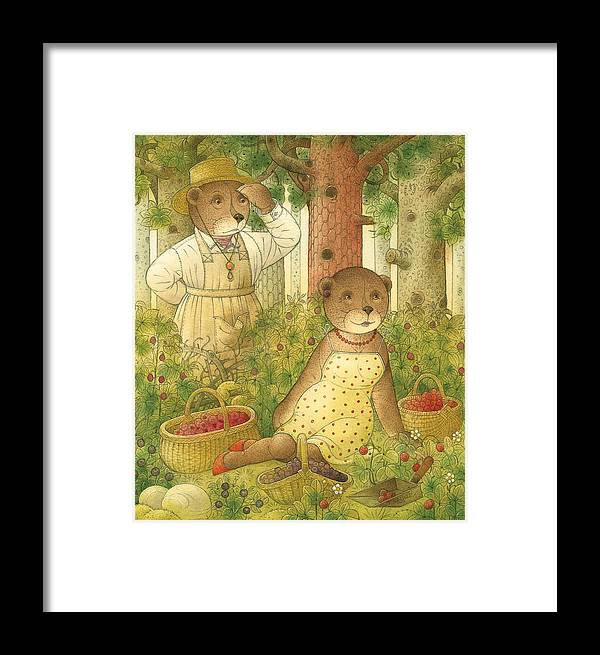 Bears Forest Love Flirt Berry Glamour Framed Print featuring the painting Florentius The Gardener12 by Kestutis Kasparavicius