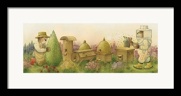 Bears Garden Flowers Apiary Honey Glamour Framed Print featuring the painting Florentius The Gardener13 by Kestutis Kasparavicius