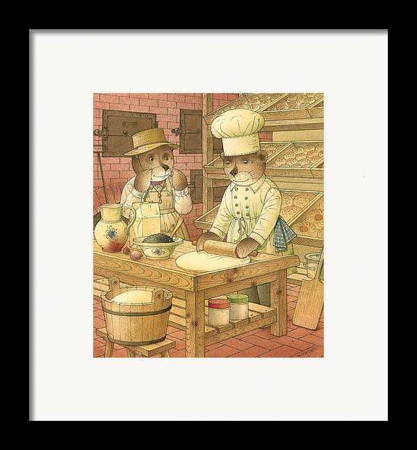 Bears Kitchen Magic Bakery Gastronome Red Framed Print featuring the painting Florentius The Gardener14 by Kestutis Kasparavicius