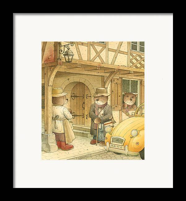 Bears Town Brown Framed Print featuring the painting Florentius The Gardener15 by Kestutis Kasparavicius