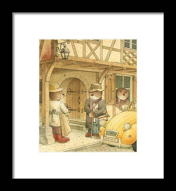 Bears Town Brown Framed Print featuring the painting Florentius The Gardener15 by Kestutis Kasparavicius