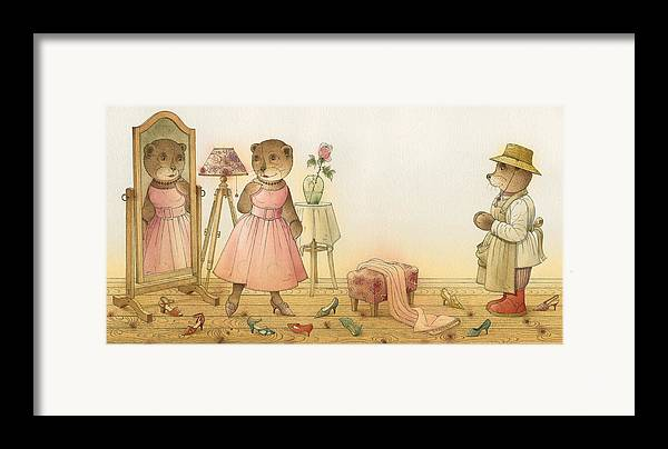 Love Flirt Glamour Bears Amour Rose Fashion Framed Print featuring the painting Florentius The Gardener16 by Kestutis Kasparavicius