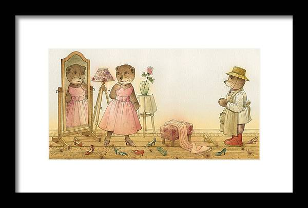 Love Flirt Glamour Bears Amour Rose Fashion Framed Print featuring the painting Florentius The Gardener16 by Kestutis Kasparavicius