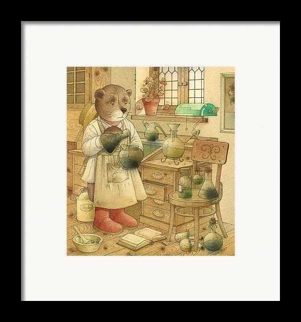 Bears Magic Glamour Brown Framed Print featuring the painting Florentius The Gardener18 by Kestutis Kasparavicius