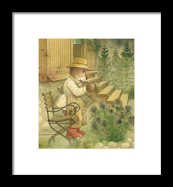 Bears Night Magic Glamour Dark Flowers Roses Framed Print featuring the painting Florentius The Gardener20 by Kestutis Kasparavicius
