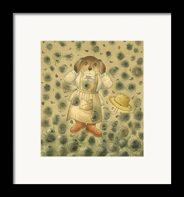Bears Black Roses Dark Night Magic Horror Framed Print featuring the painting Florentius The Gardener21 by Kestutis Kasparavicius