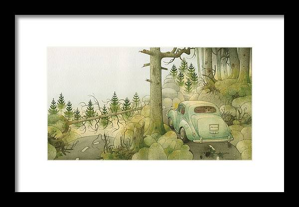 Bears Dark Night Magic Glamour Horror Landscape Limousine Framed Print featuring the painting Florentius The Gardener22 by Kestutis Kasparavicius