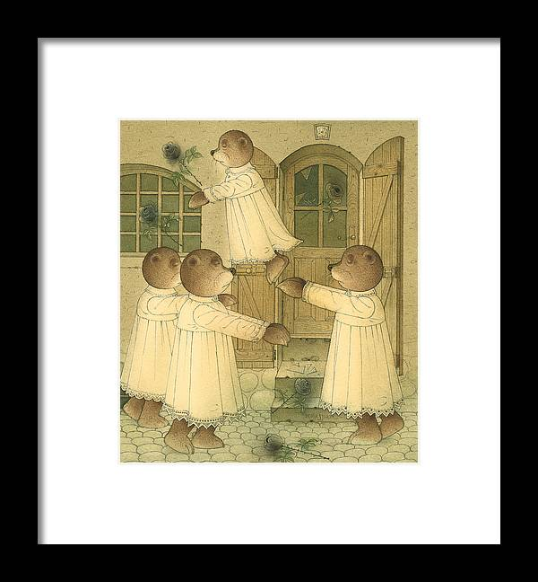 Bears Night Dark Magic Glamour Black Roses Framed Print featuring the drawing Florentius The Gardener23 by Kestutis Kasparavicius