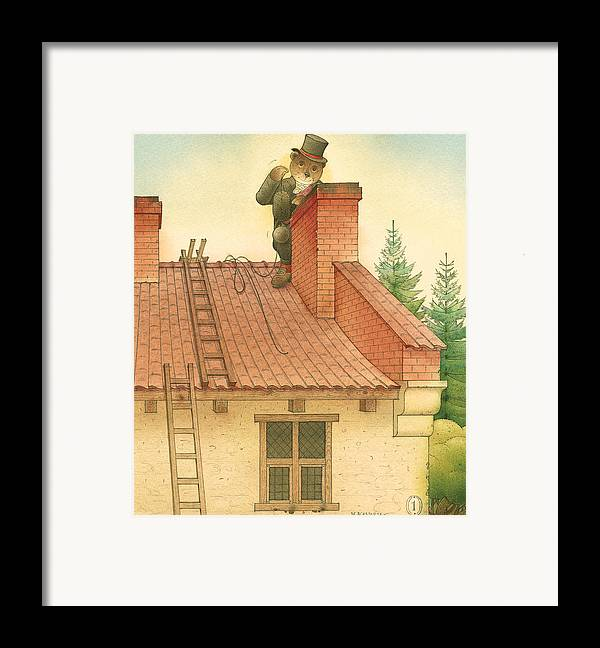 Bears Red Garden Chimney Sweep Framed Print featuring the painting Florentius The Gardener27 by Kestutis Kasparavicius