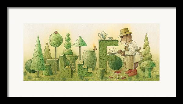 Garden Bears Flowers Green Landscape Nature Framed Print featuring the painting Florentius The Gardner24 by Kestutis Kasparavicius