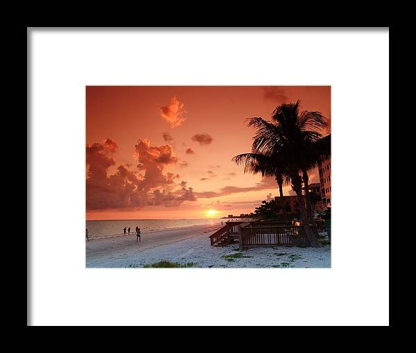 Tropical Framed Print featuring the photograph Florida Beach Sunset by Florene Welebny