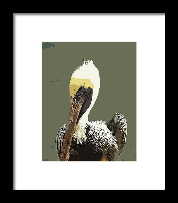 Pelican Framed Print featuring the painting Florida Brown Pelican by Allan Hughes