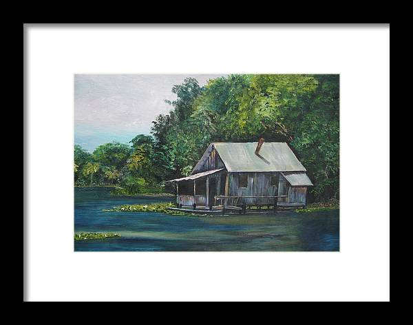 Florida Framed Print featuring the painting Florida Fishing Shack by Lessandra Grimley