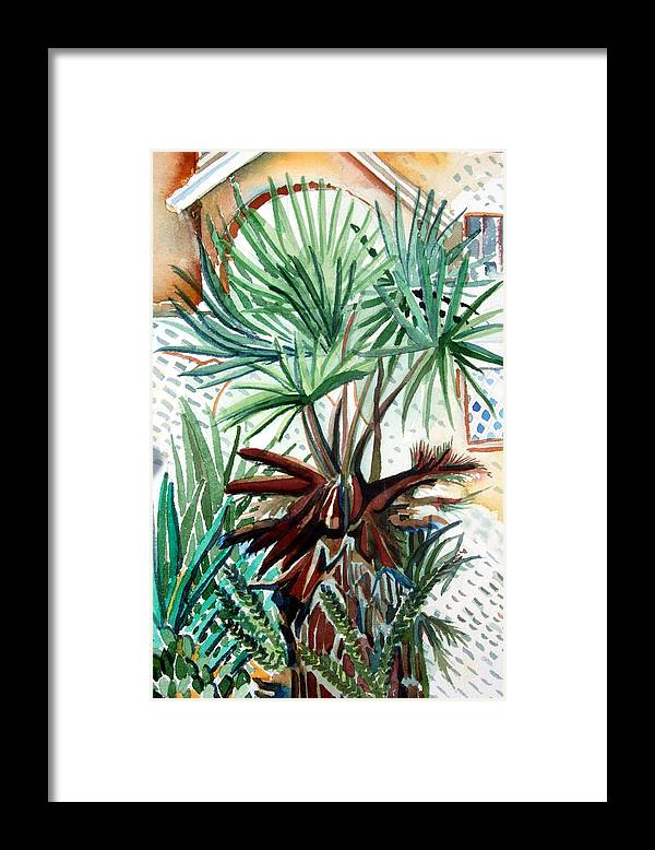 Palm Framed Print featuring the painting Florida Palm by Mindy Newman