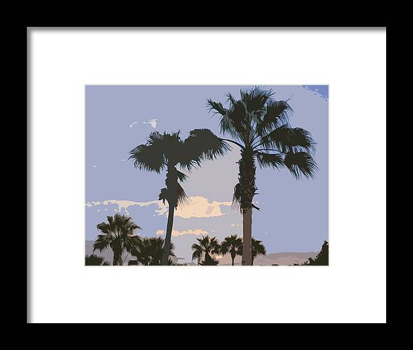 Florida Framed Print featuring the painting Florida Queen Palm Trees  by Allan Hughes