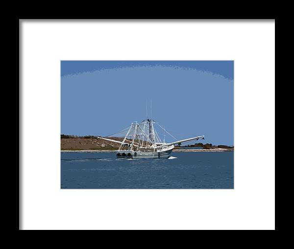 Shrimp Framed Print featuring the painting Florida Shrimper by Allan Hughes