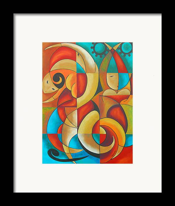 Abstract Expressionism Framed Print featuring the painting Floutine With Rhythm by Marta Giraldo