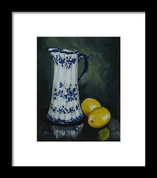 Flow Blue China Framed Print featuring the painting Flow Blue And Lemons by Torrie Smiley