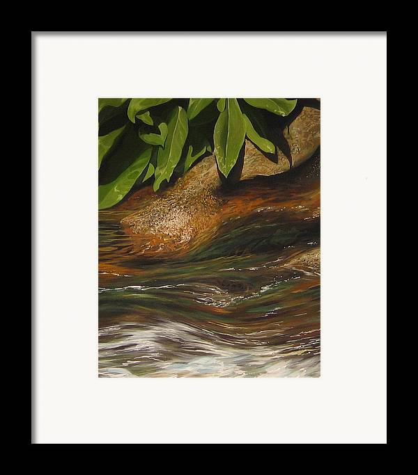 Colorado Mountain Stream Framed Print featuring the painting Flow by Hunter Jay