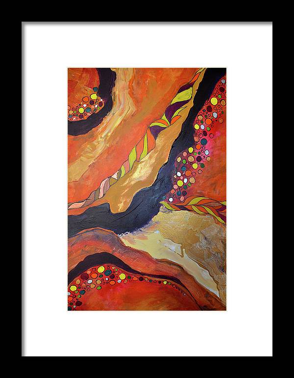 Acrylic On Canvas Framed Print featuring the painting Flow by Renata Ferenc
