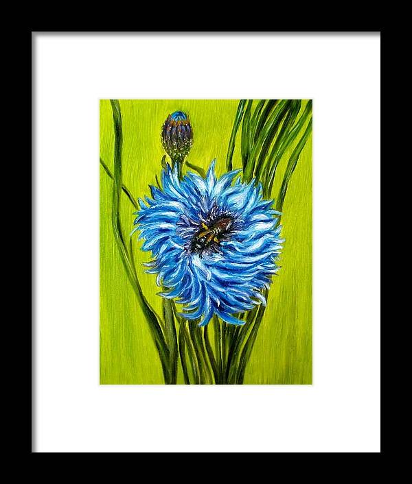 Floral Framed Print featuring the painting Flower and Bee oil painting by Natalja Picugina