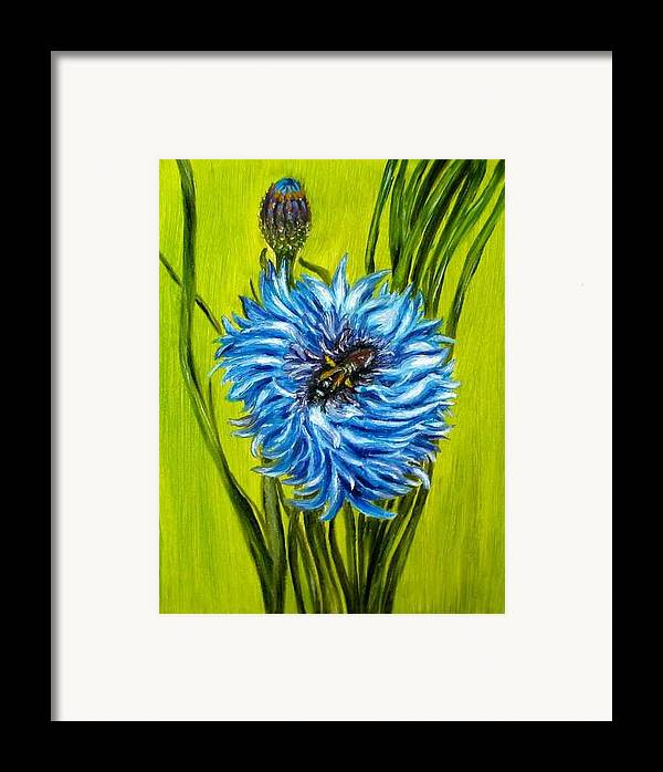 Flower Framed Print featuring the painting Flower And Bee Oil Painting by Natalja Picugina
