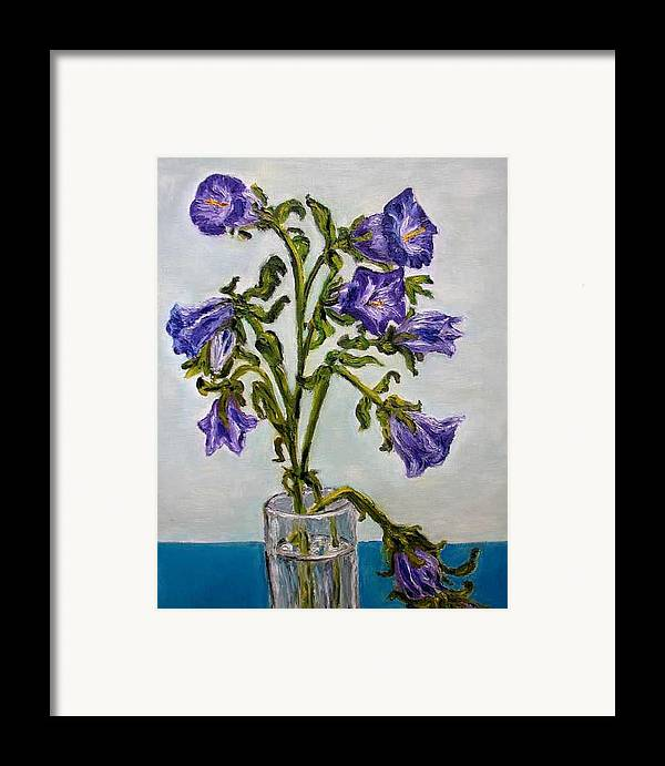 Flower Framed Print featuring the painting Flower Bluebells Original Oil Painting by Natalja Picugina