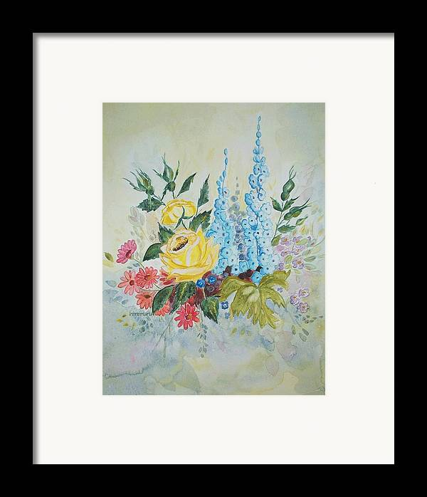 Roses Flowers Framed Print featuring the painting Flower Bouquet by Irenemaria
