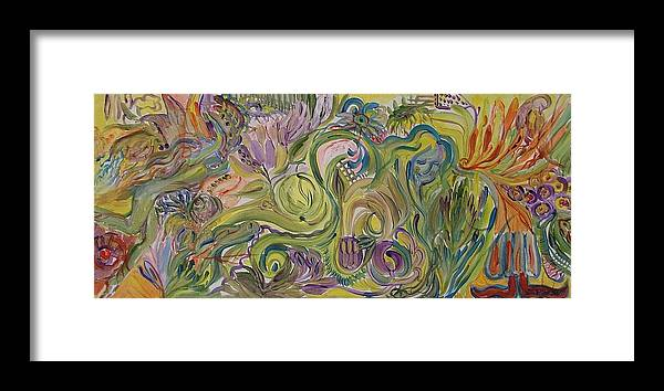 Abstract Framed Print featuring the painting Flower Composition by Rita Fetisov