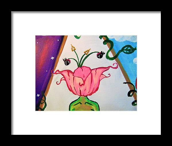 Flower Framed Print featuring the painting Flower Face by Kayanna South