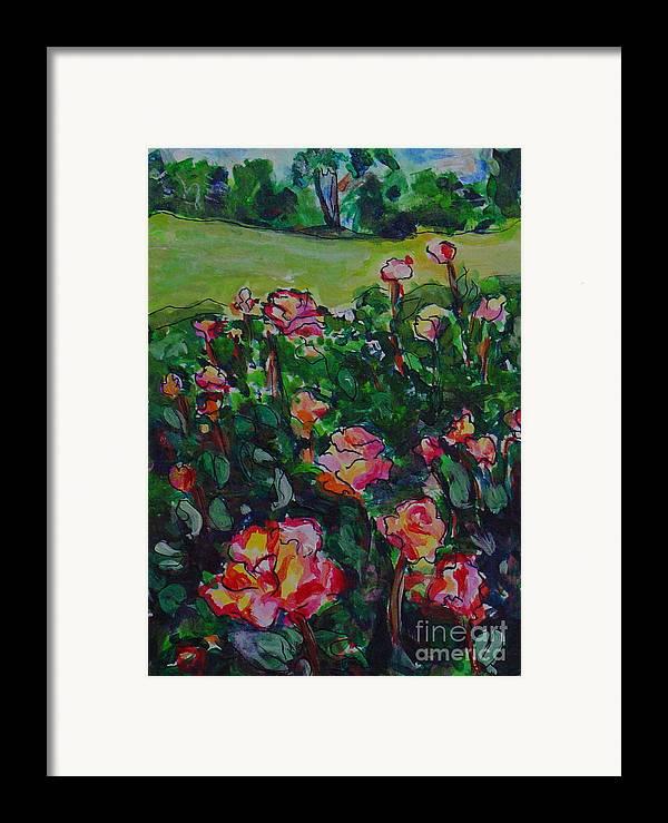 Flowers Landscape Illustration Original Artwork Leilaatknson Framed Print featuring the painting Flower Field by Leila Atkinson