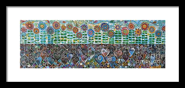 Blues Framed Print featuring the painting Flower Garden Blues by Manami Lingerfelt