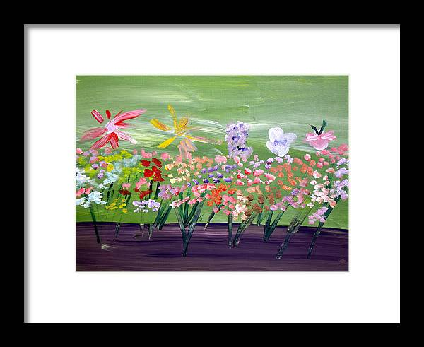 Flowers Framed Print featuring the painting Flower Garden by Jeff Caturano