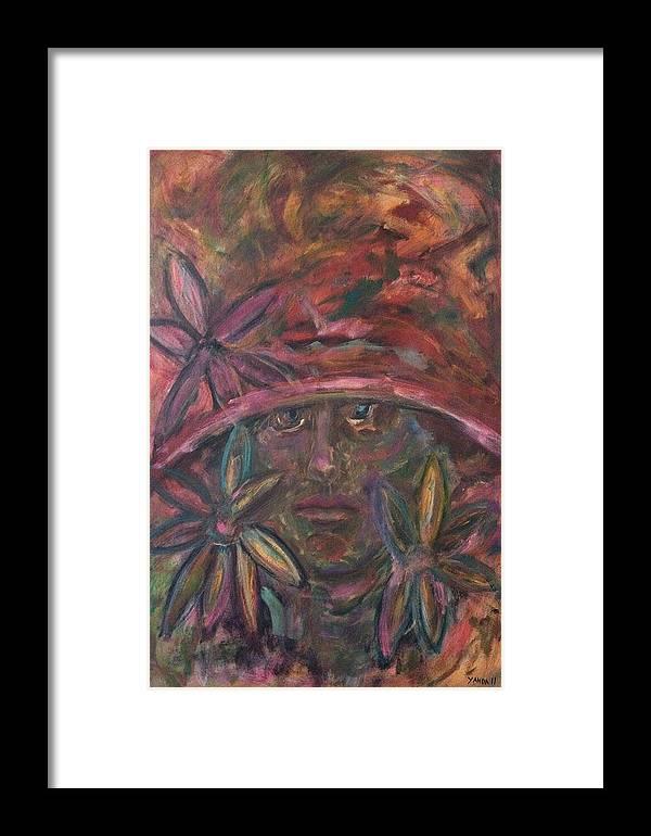 Katt Yanda Original Art Portrait Oil Painting Canvas Flower Girl Lady Colorful Hat Framed Print featuring the painting Flower Girl by Katt Yanda