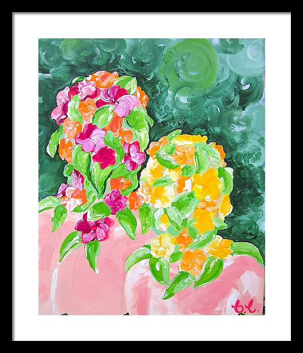 Figures Framed Print featuring the painting Flower Heads by Britta Loucas