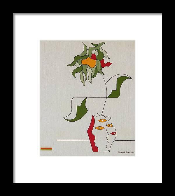 Flower Modern Constructivisme Special Original Framed Print featuring the painting Flower by Hildegarde Handsaeme