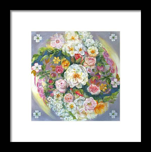 Flower Framed Print featuring the painting Flower Mandala #1 by Julia Watson